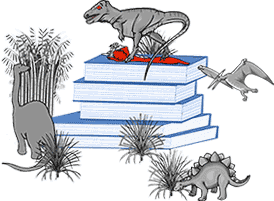 dinosaurs grazing on book stack